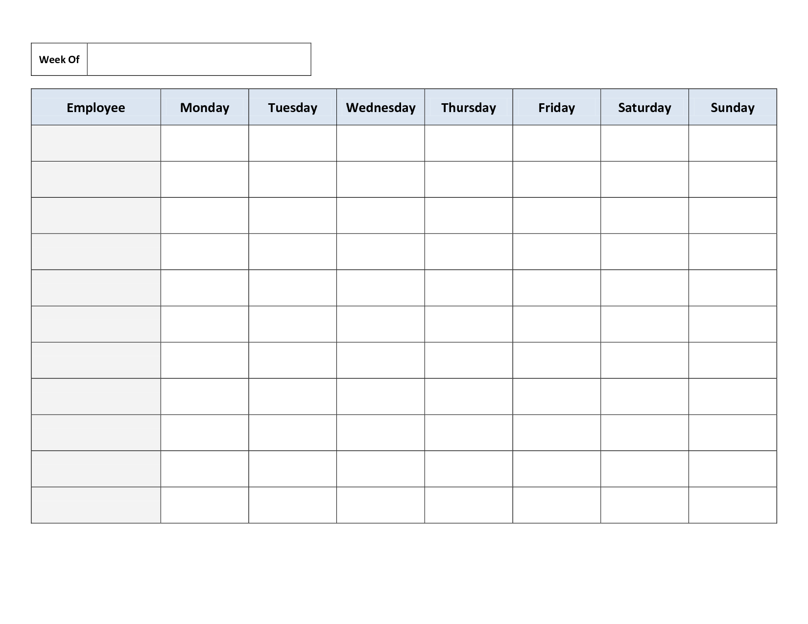 Weekly Employee Work Schedule Template. Free Blank Schedule.pdf - Free Printable Work Schedule Maker