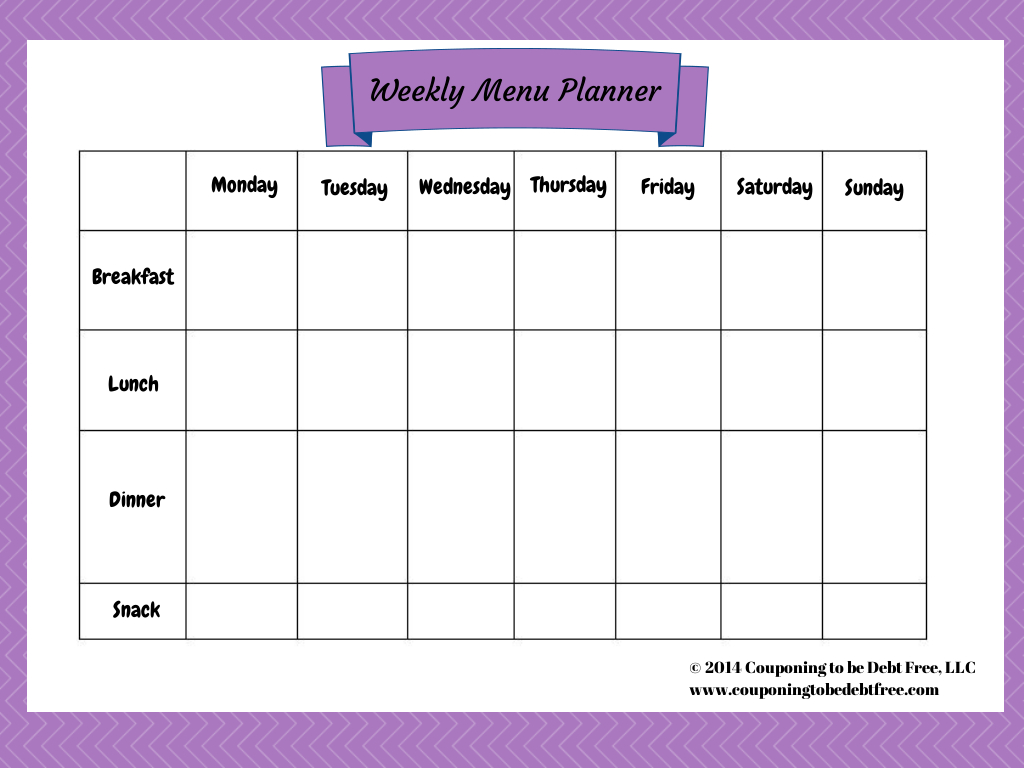 Weekly Menu Planner Printable - Weekly Menu Free Printable