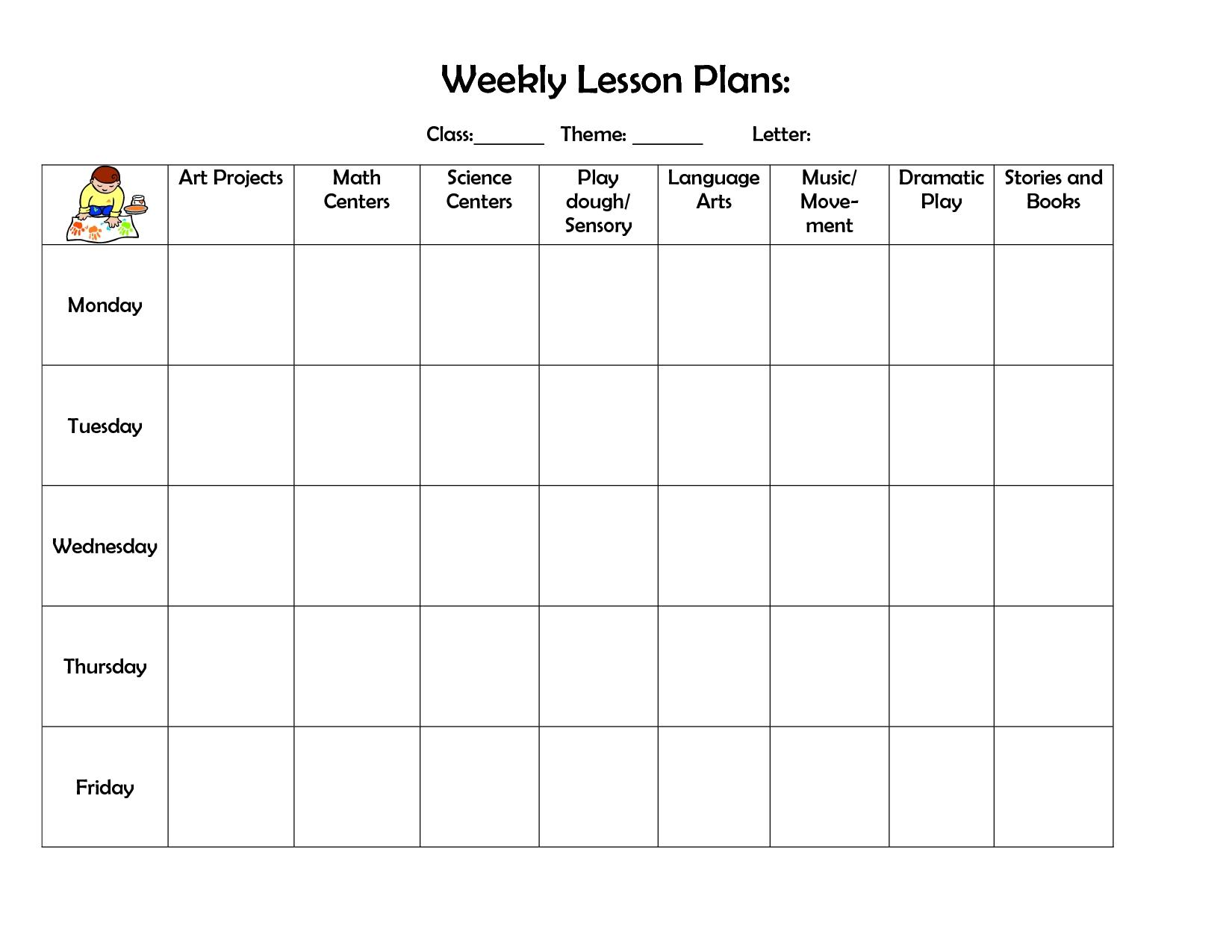 Weekly Preschool Planner Free Printable Lesson Plan Tem ~ Takemetoearth - Free Printable Lesson Plan Template Blank