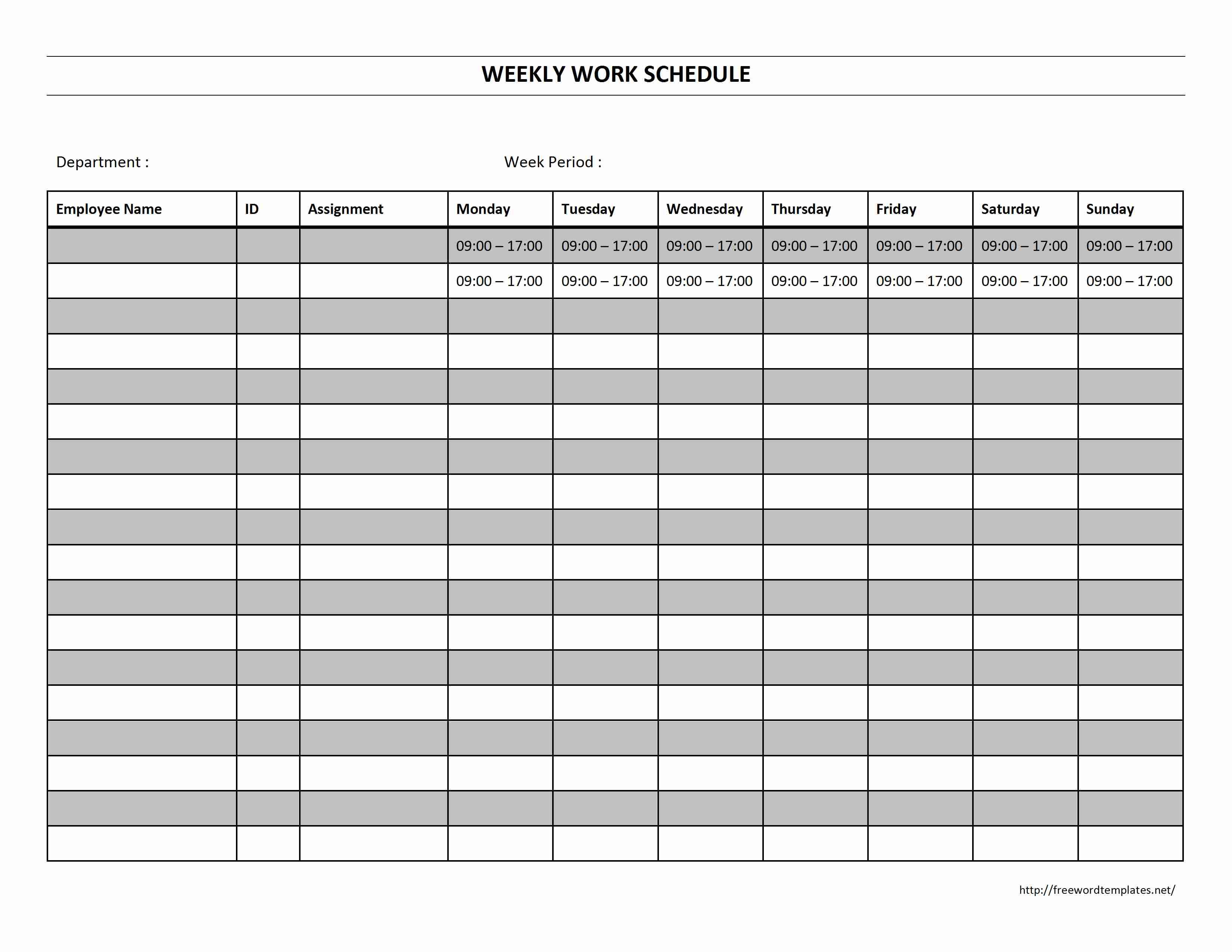 Weekly Work Schedule - Free Printable Weekly Work Schedule
