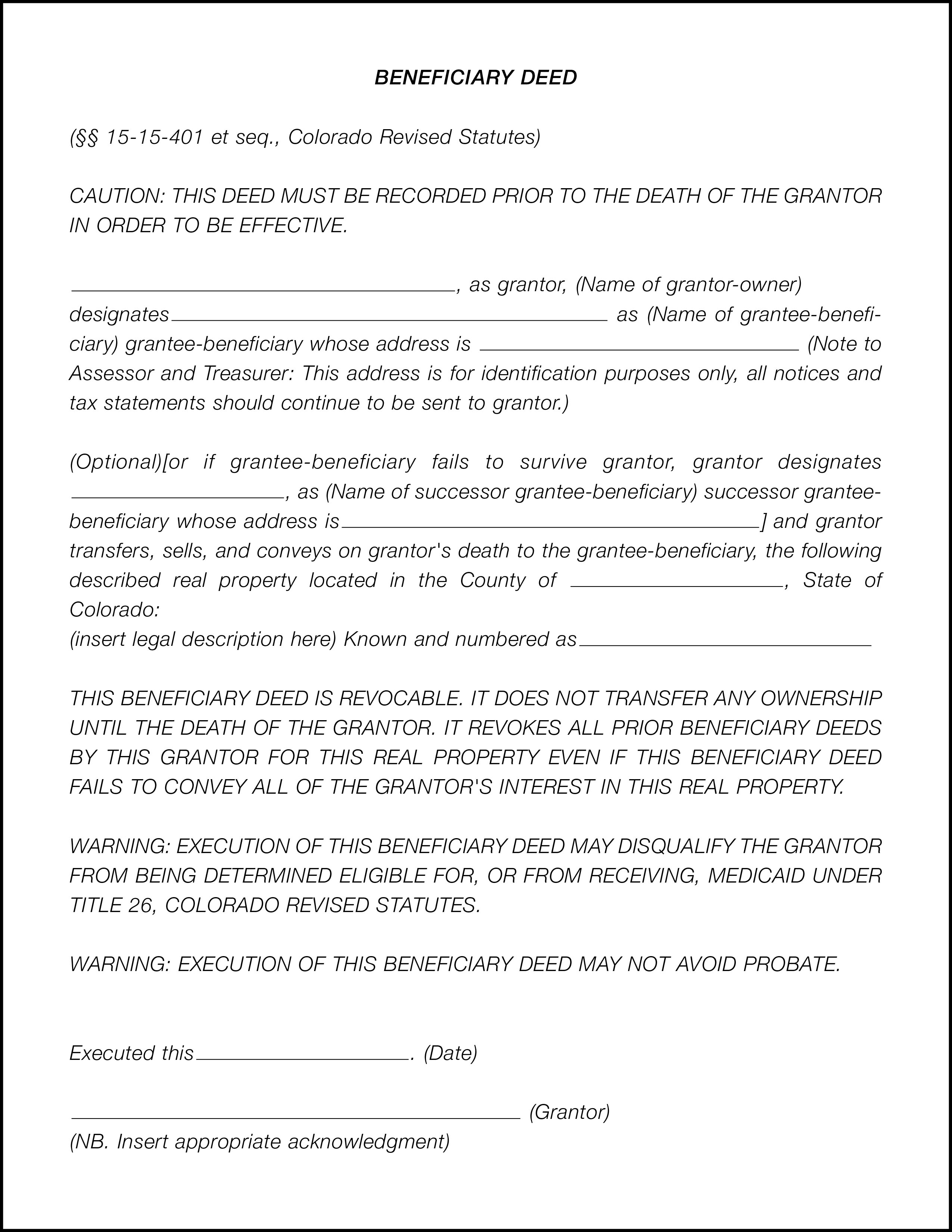 What Is A Beneficiary Deed? - Land Title Guarantee Company   Land - Free Printable Beneficiary Deed