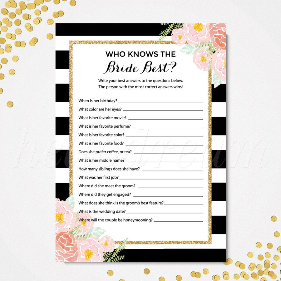 Who Knows The Bride Best, How Well Do You Know The Bride, Kate Spade - How Well Do You Know The Bride Game Free Printable