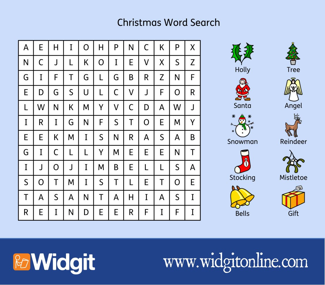 "Widgit Software On Twitter: ""free Christmas Word Search! Download - Free Printable Widgit Symbols"