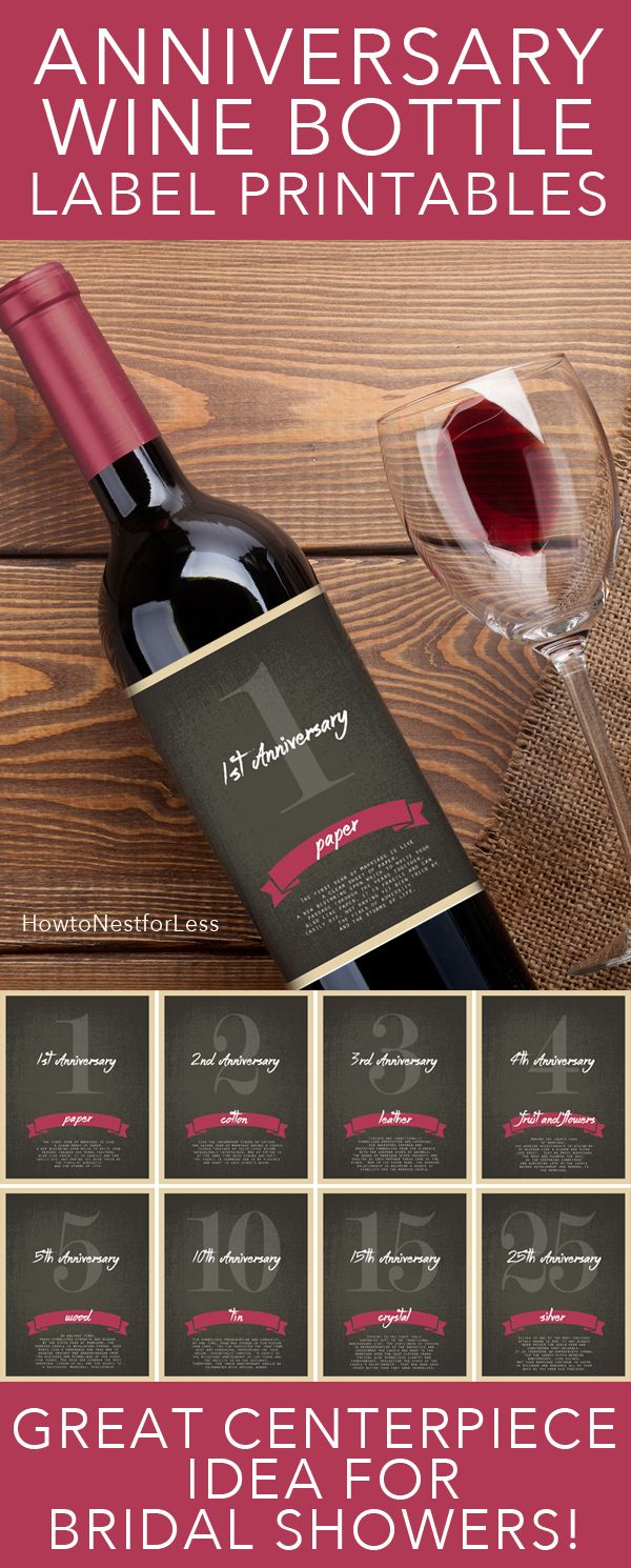 Wine Bottle Anniversary Labels Free Printable | Bloggers' Best Diy - Free Printable Wine Labels For Birthday