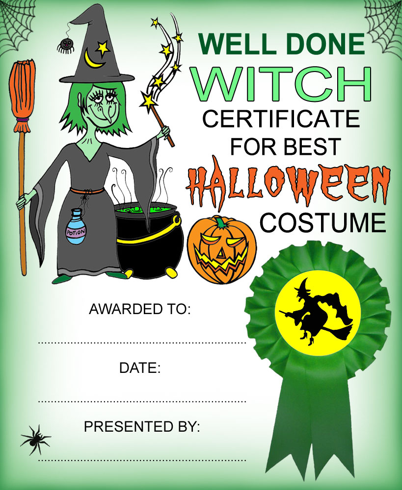 Witch Certificate: Best Halloween Costume | Rooftop Post Printables - Best Costume Certificate Printable Free