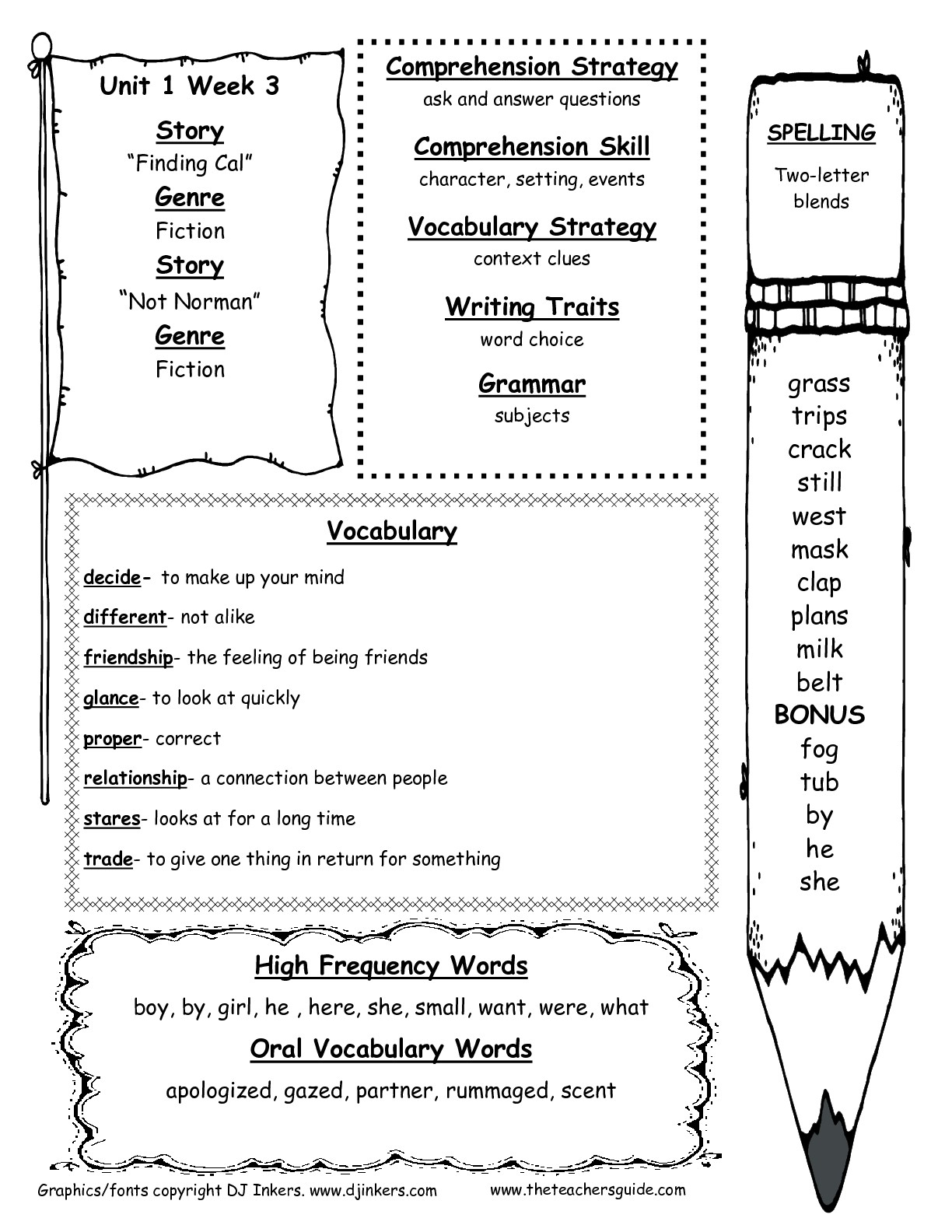 Wonders Second Grade Unit One Week Three Printouts - Free Printable Reading Games For 2Nd Graders