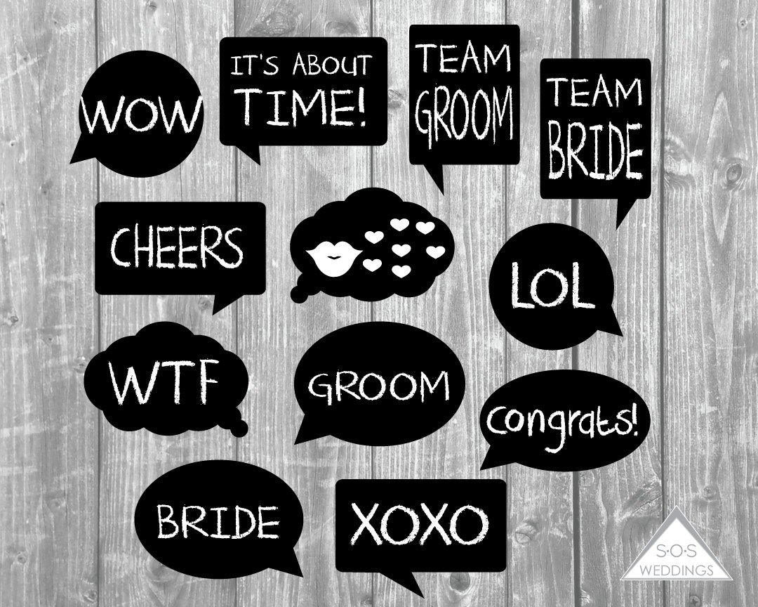Word Bubble Photo Booth Signs Wedding Photobooth Signs Photo | Etsy - Free Photo Booth Props Printable Pdf