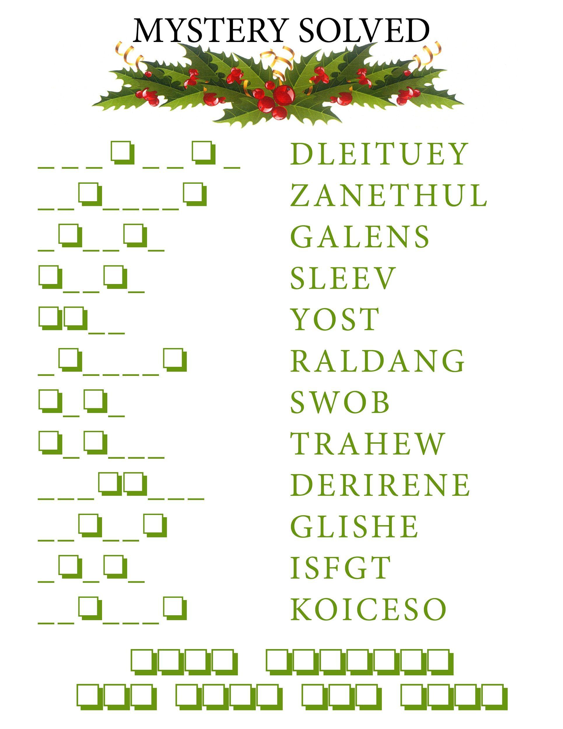 Word Scramble Puzzles Christmas | K5 Worksheets | Christmas Activity - Free Word Scramble Maker Printable