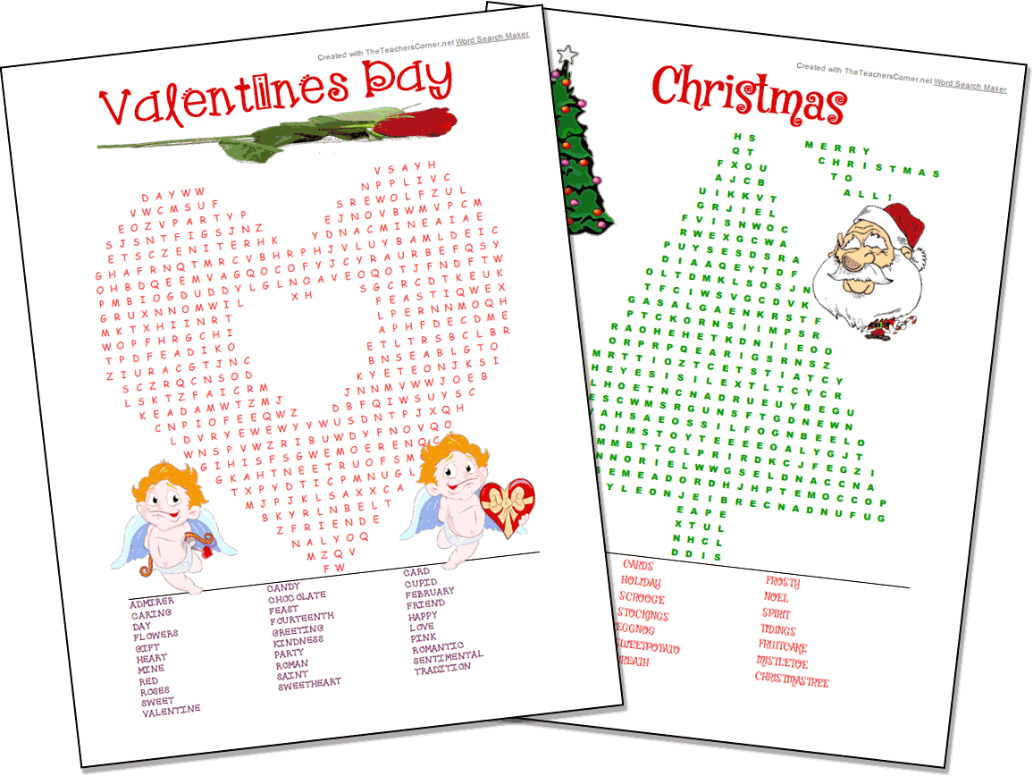 Word Search Maker   World Famous From The Teacher's Corner - Free Printable Christmas Word Games