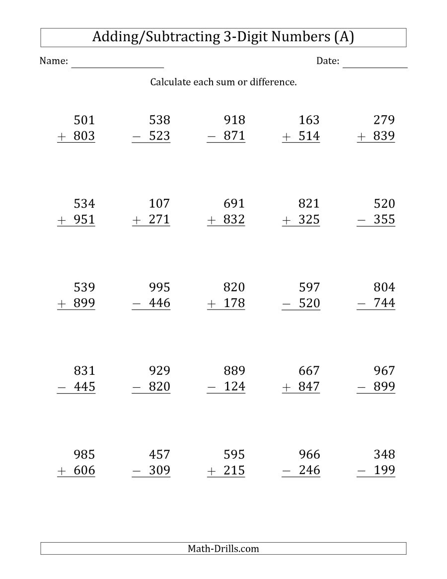 Worksheet. 3 Digit Addition And Subtraction Worksheets. Worksheet - Free Printable Mixed Addition And Subtraction Worksheets