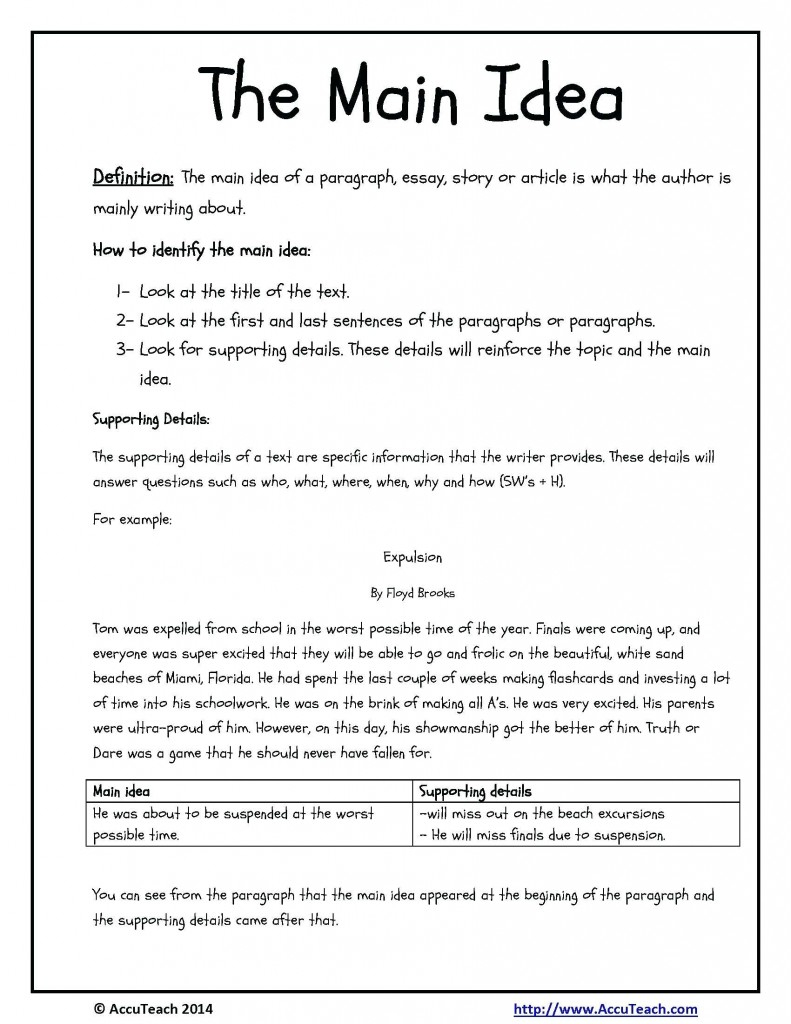 Worksheet Main Idea Worksheets For 3Rd Grade Fun Exercises Multiple - Free Printable Main Idea Worksheets