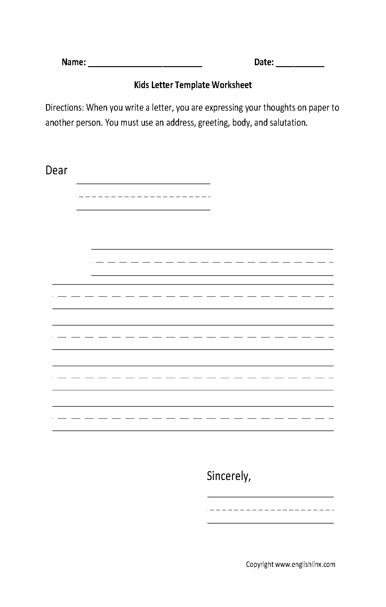 Writing Worksheets | Letter Writing Worksheets - Free Printable Letter Writing Worksheets