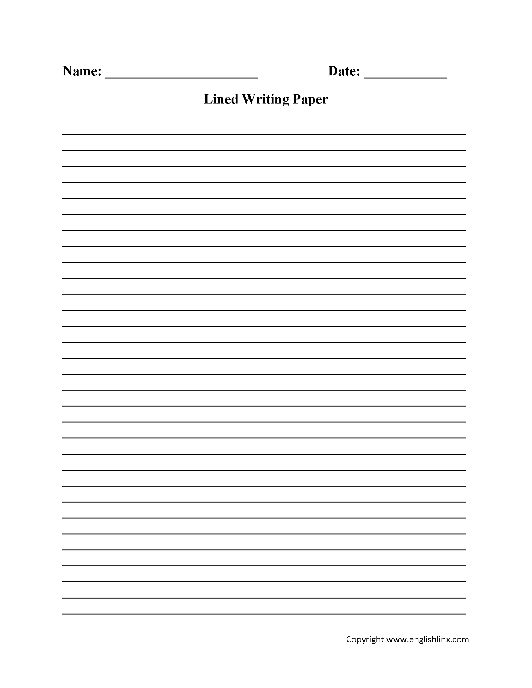 Writing Worksheets   Lined Writing Paper Worksheets - Free Printable Lined Writing Paper