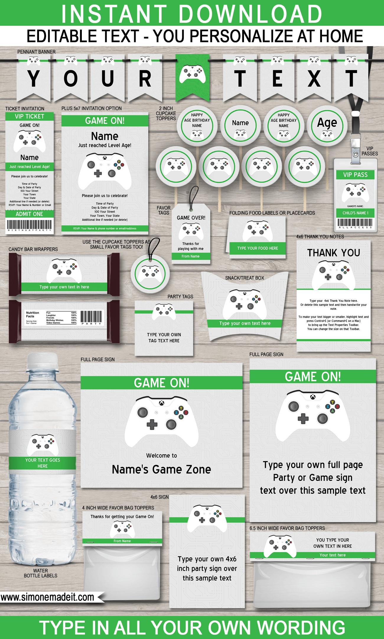 Xbox Party Printables, Invitations & Decorations   Video Game Party - Free Printable Video Game Party Invitations