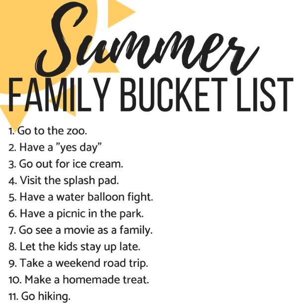 Printable Summer Bucket List Free